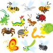 Stock Vector: Cute happy insects.