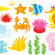 Stock Vector: Sea animals