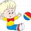 Small child playing with ball — Imagen vectorial