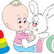 Child plays with his best friend - white bunny — Stock Vector #30853761