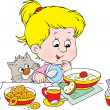 Stock Vector: Girl at breakfast
