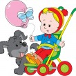 Pup and small child sitting in a pram in a walk — Stock Vector