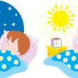 Boy sleeping by the night and waking up in the morning — Stock Vector