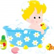 Child bathing with toys — Stock Vector