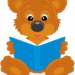 Brown bear cub reading a blue book — Stock Vector