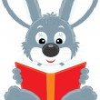 Stock Vector: Grey rabbit reading a book