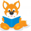 Little fox reading a book — Stock Vector