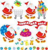 Illustration of christmas toys gifts and santas. — Stock Vector