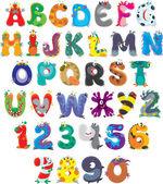 Alphabet anglais avec monstres rigolos — Vecteur
