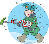 Soldier marching through the snow with a pickle. — Stock vektor