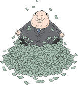 Profit, Fat businessman sitting on a big pile of money — Stock Vector