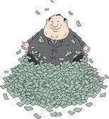 прибыль, толстый бизнесмен, сидя на большой кучей денег — Cтоковый вектор