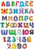 Russian alphabet and numbers with funny monsters — Stock Vector
