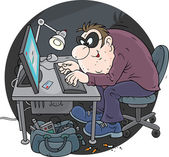 Hacker using a stolen credit card — Stock Vector