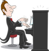 Pianist, inspired musician plays the piano — Stock Vector