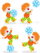 Circus clown playing with a ball — Stock Vector