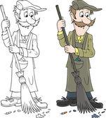 Yardman sweeping with a broom — Stock Vector