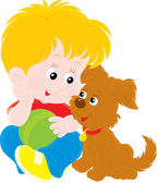 Little boy playing with pup — Stock Vector