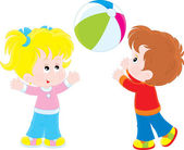 Girl and boy playing a ball — Stock Vector