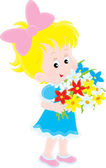 Little girl with a bouquet of colorful flowers — Stock Vector