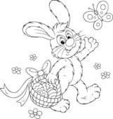 Coniglietto di pasqua con un cesto di uova — Vettoriale Stock