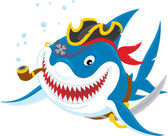 Shark pirate — Stock Vector