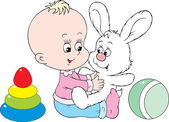 Child plays with his best friend - white bunny — Stock Vector