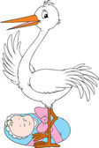 Stork and newborn — Stock Vector