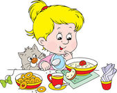 Girl at breakfast — Stock Vector