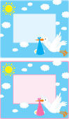 Vector border with a flying white stork — Stock Vector