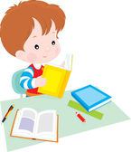 Boy reading a book at table — Stock Vector