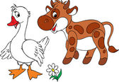 White Goose and brown calf — Stock Vector