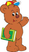 Funny Bear holding the green book — Stock Vector
