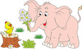 Pink elephant and little chick — Vector de stock