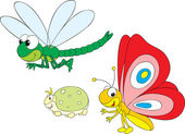 Dragonfly, greenfly and butterfly — Stockvektor