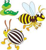 Wasp, potato beetle and slug — Stock Vector