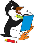 Penguin writing in a notebook — Stock Vector