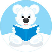 Polar bear cub reading a blue book — Vector de stock