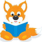 Little fox reading a book — Stock Vector