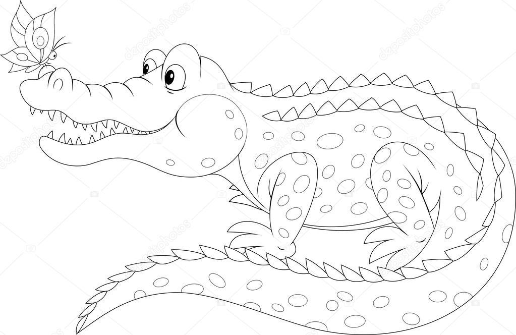 Crocodile and butterfly stock vector alexbannykh 30853413 for Coccodrillo da colorare