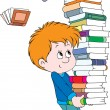 Stock Vector: Schoolboy with books
