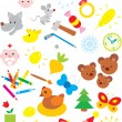 Simple objects for kindergarten — Stock Vector