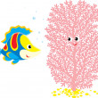 Colorful Fish talks with Pink Coral — Stock Vector