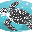 Stock Vector: Marine loggerhead turtle and striped fish