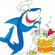 Cook Shark — Stock Vector