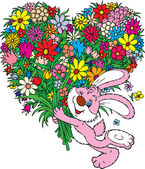 Pink bunny with flower bouquet — Vector de stock