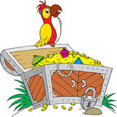 オープン宝箱の上に腰掛けてオウム — ストックベクタ