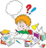 Schoolboy with homework — Stock Vector