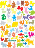 Siluetas de animales — Vector de stock
