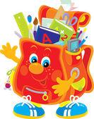 мультипликационный персонаж школьный портфель — Cтоковый вектор